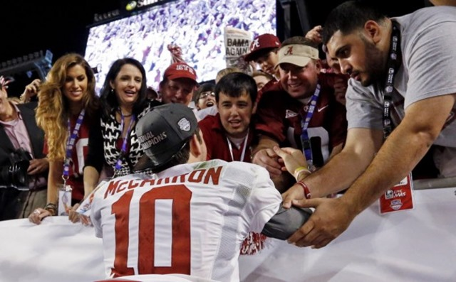 Katherine Webb, left, the girlfriend of Alabama quarterback AJ McCarron celebrate after the BCS National Championship game - The Boys Are Back blog