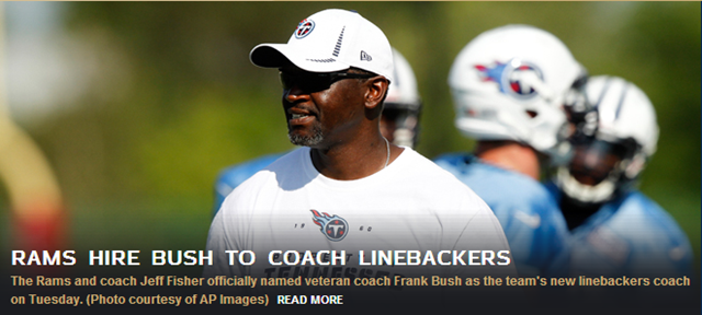 RAMS HIRE FRANK BUSH TO COACH LINEBACKERS - The Boys Are Back blog