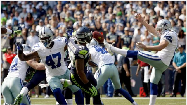 dallas cowboys punter chris jones punt is blocked in the seattle seahawks loss - the boys are back blog