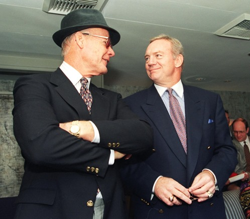 Former Cowboys coach Tom Landry and owner Jerry Jones enjoy the game from Jones' suite prior to the halftime ceremony on Nov. 7, 1993 - The Boys Are Back blog
