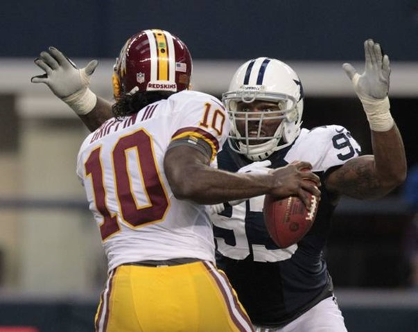 dallas cowboys outside linebacker anthony spencer (93) sacks washington redskins quarterback robert griffin iii - the boys are back blog