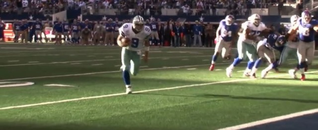 dallas cowboys qb tony romo scrambles for a td vs new york giants - the boys are back blog