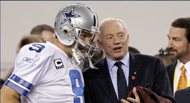 Jerry Jones and Tony Romo on sidelines - The Boys Are Back blog 2013