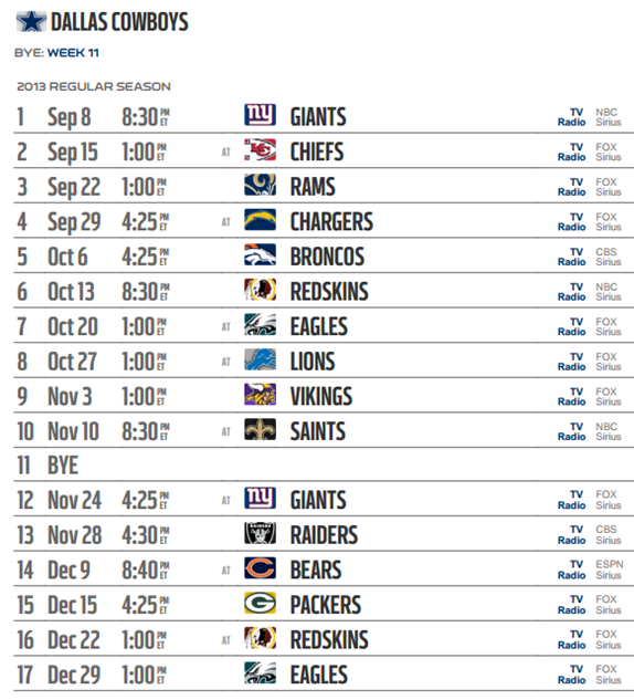 Dallas Cowboys 2013-2014 NFL Schedule - Dallas Cowboys 2013 schedule