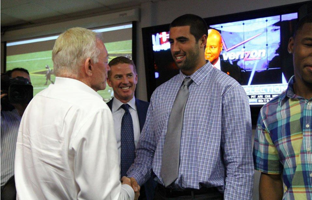 Dallas Cowboys' 2013 Draft pick TE Gavin Escobar meets Jerry Jones at the Dallas Cowboys Valley Ranch NFL Draft war room - The Boys Are Back blog