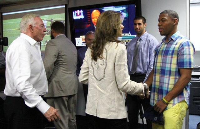 Dallas Cowboys' 2013 Draft pick WR Terrance Williams meets Charlotte Jones Anderson at the Dallas Cowboys Valley Ranch NFL Draft war room