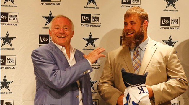 Dallas Cowboys' 2013 top Draft pick center Travis Frederick introduced to Dallas media by Jerry Jones at the Dallas Cowboys Valley Ranch complex