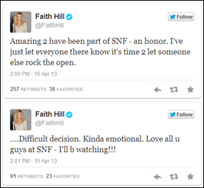 Faith Hill stepping away from 'Sunday Night Football' SNF - The Boys Are Back blog 2013