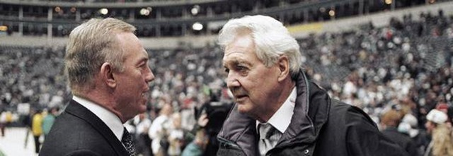 Jan. 23, 1994 - Dallas Cowboys owner Jerry Jones talks with CBS commentator Pat Summerall - The Boys Are Back blog