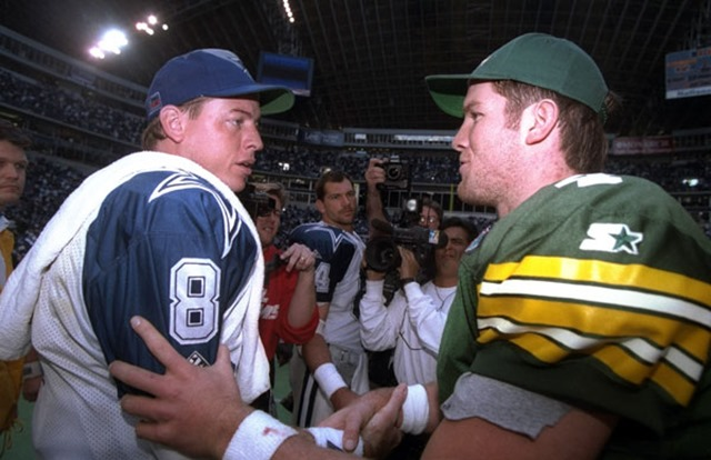 Troy Aikman congratulated by Brett Favre - The Boys Are Back blog