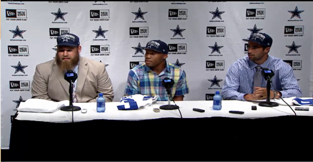 VIDEO - Meet three of the newest Dallas Cowboys, Travis Frederick, Gavin Escobar, and Terrance Williams as they are introduced at Valley Ranch