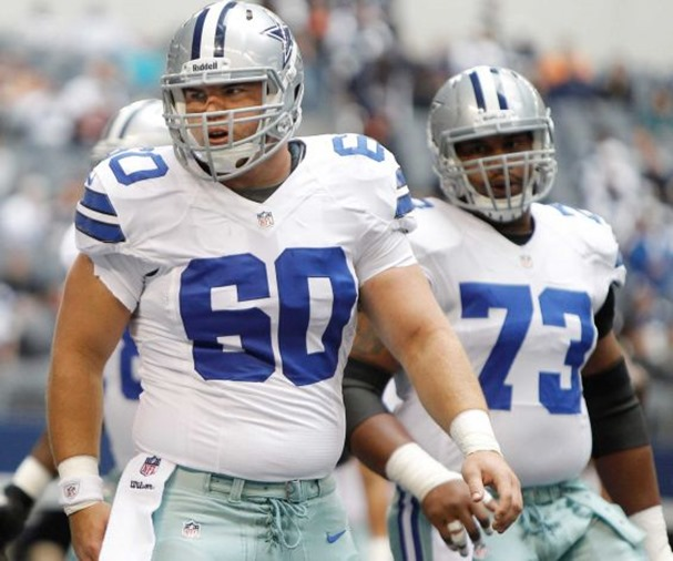 dallas cowboys center kevin kowalski (60) and dallas cowboys guard mackenzy bernadeau (73) during warmups - the boys are back blog