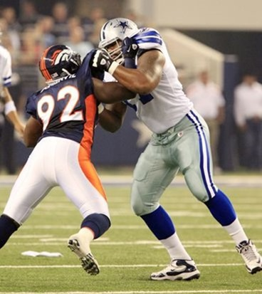 Dallas Cowboys offensive tackle Tyron Smith (77) works against Denver Broncos defensive end - The Boys Are Back blog 2011