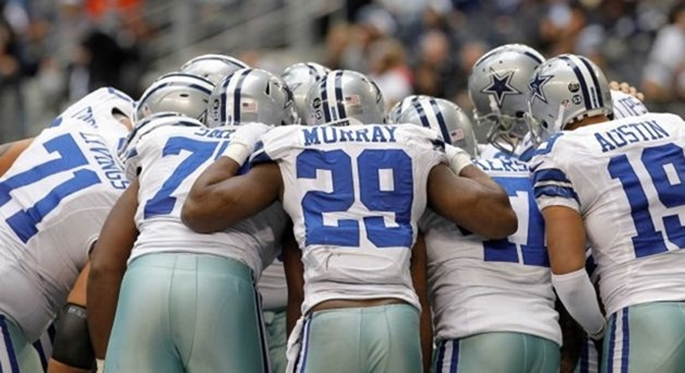 dallas cowboys running back demarco murray (29) gets in on the huddle vs saints - the boys are back blog