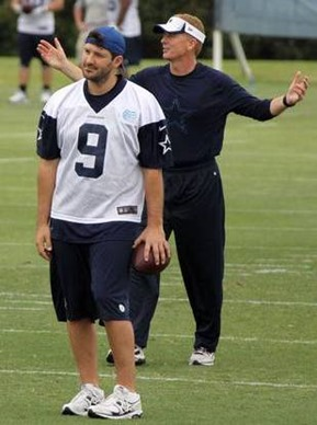 Tony Romo and head coach Jason Garrett during the Dallas Cowboys OTA practice - The Boys Are Back blog 2013