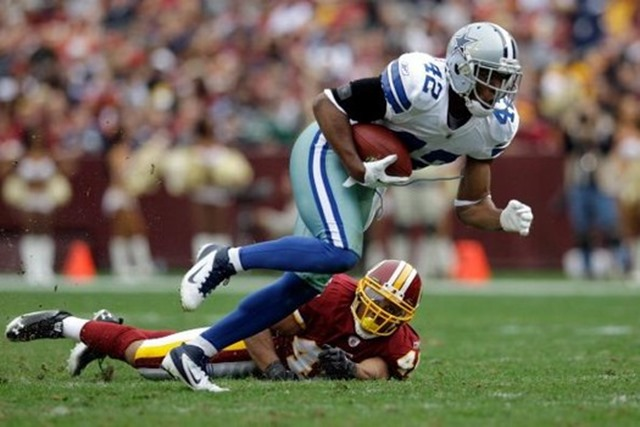 barry church of the dallas cowboys returns a fumble in front of tashard choice of the washington redskins - the boys are back blog