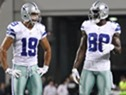 Dec 2, 2012; Arlington, TX, USA; Dallas Cowboys wide receiver Dez Bryant (88) talk with Miles Austin (19) during a timeout in the game against the Philadelphia Eagles at Cowboys Stadium. The Cowboys beat the Eagles 38-33. Mandatory Credit: Tim Heitman-USA TODAY Sports