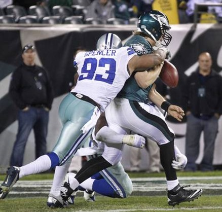dallas cowboys outside linebacker anthony spencer (93) forces philadelphia eagles quarterback nick foles (9) to fumble - the boys are back blog