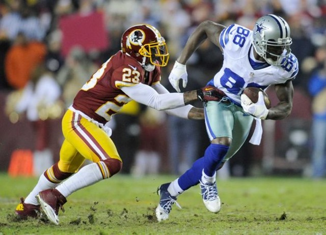 dallas cowboys wide receiver dez bryant (88) is stopped by washington redskins cornerback deangelo hall (23) - the boys are back blog