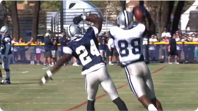 Dez being Dez - Dez Bryant made three spectacular catches in the teams 1-on-1 portion of 2013-2014 Dallas Cowboys training camp practice - The Boys Are Back blog