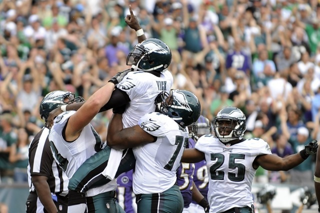 Eagles Danny Watkins, Michael Vick, Demetress Bell, and LeSean McCoy celebrate - The Boys Are Back blog 2013