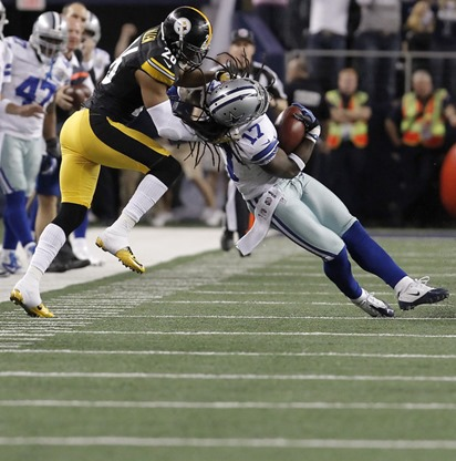pittsburgh steelers strong safety will allen (26) brings down dallas cowboys wide receiver dwayne harris - the boys are back blog