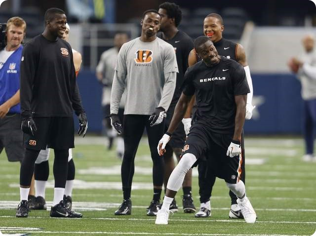 A.J. Green jokes around with the other Bengals receivers prior to their preseason game against the Dallas Cowboys - The Enquirer - Jeff Swinger