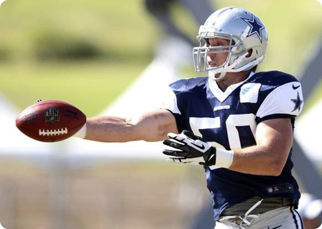 Dallas Cowboys linebacker Sean Lee prepares to catch the ball during afternoon practice at Dallas Cowboys training camp - The Boys Are Back blog 2013