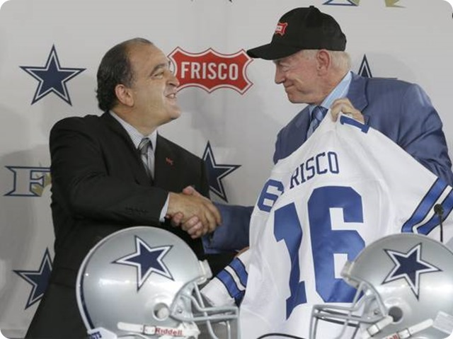 Dallas Cowboys owner Jerry Jones shakes hands with Frisco Mayor - The Boys Are Back blog