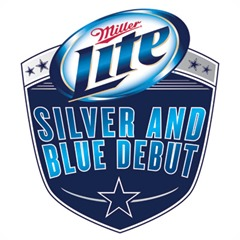 silver and blue debut logo