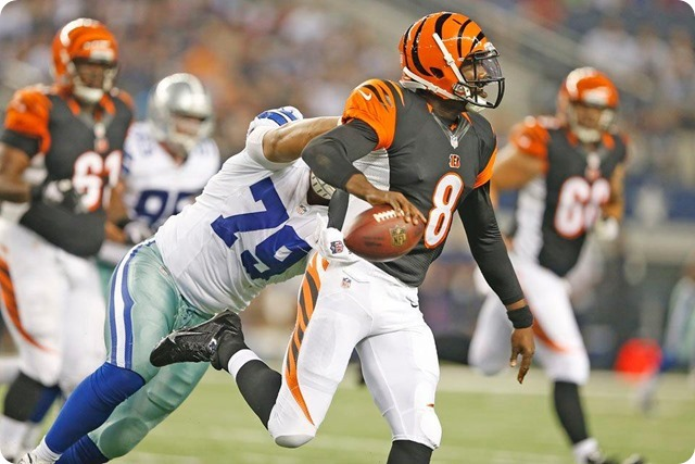 TEXAS 2 DEFENSE - Starters continue to excite in 24-18 preseason win at AT&T Stadium - The Boys Are Back blog 2013 - Bengal QB sacked