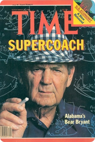 Bear Bryant appeared on the cover of Time Magazine