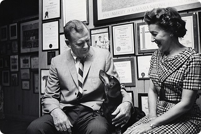 Bear Bryant met and married his wife, Mary Harmon, while they were both students at Alabama