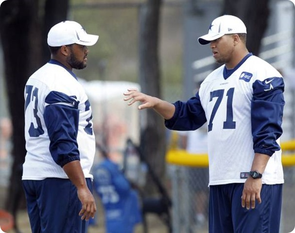 dallas cowboys offensive guard mackenzy bernadeau (73) listens to offensive guard nate livings - the boys are back blog