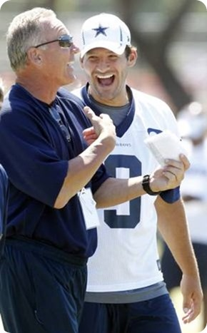 dallas cowboys quarterbacks coach wade wilson laughs with quarterback tony romo during practice - the boys are back blog