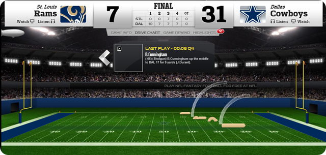 game center - Dallas Cowboys vs. St. Louis Rams - 2013-2014 Dallas Cowboys