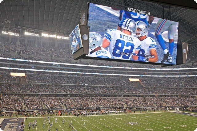 NEW ERA - THE 12th COWPOKE - Rowdy Dallas Cowboys fans create home field advantage at AT&T Stadium - 2013-2013 Dallas Cowboys - Jason Witten big screen