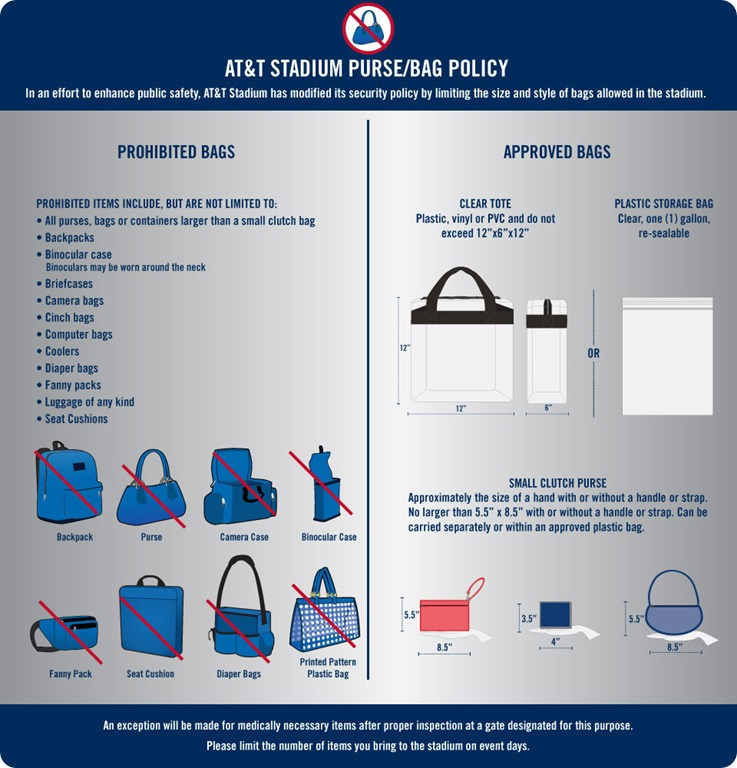 NFL, Dallas Cowboys and AT&T Stadium new bag policy - The Boys Are Back blog 2013