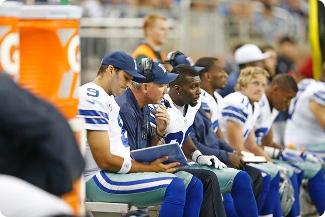 CHANNELING THE X-FACTOR - Jason Garrett has talk with Dez Bryant; team appreciates his passion and emotion - 2013-2014 Dallas Cowboys - Dez watching Dallas defensive players