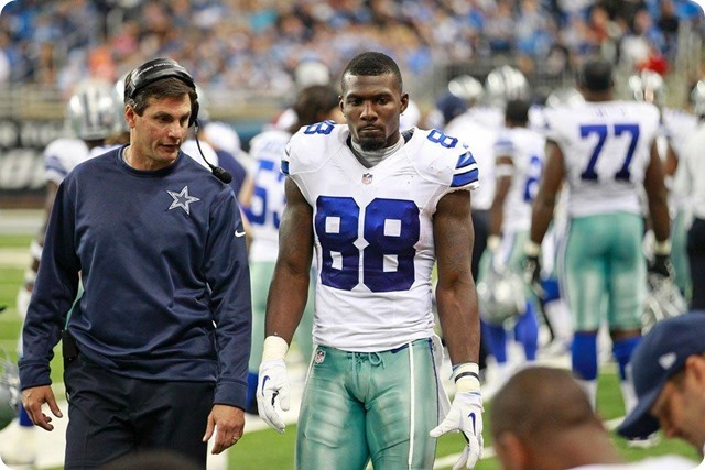 CHANNELING THE X-FACTOR - Jason Garrett has talk with Dez Bryant; team appreciates his passion and emotion - 2013-2014 Dallas Cowboys - Dez with coach