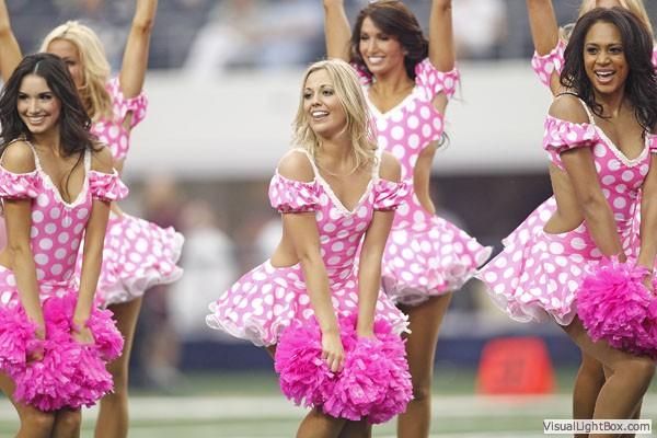 dallas cowboy cheerleaders dressed in pink