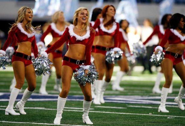 Dallas Cowboys Cheerleaders Christmas uniforms