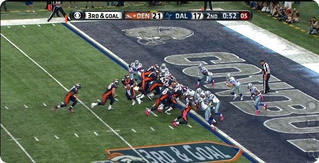 Manning TD - 3 - Fake handoff to RB in I formation - Ware in pursuit from strong side