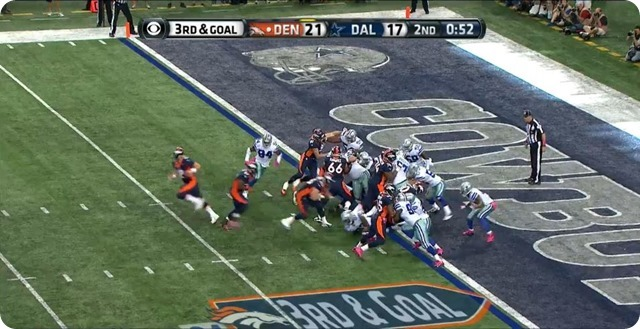Manning TD - 4 - Ware in pursuit from strong side - Bites on fake handoff as Manning rolls away from pocket