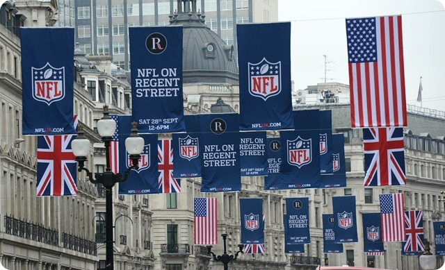 NFL-Regent-Street-Flags - Dallas Cowboys' opponent fans London America's Team Dallas Cowboy fans UK London England