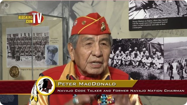 AROUND THE NFL - Leader of the Navajo Code Talkers defends Redskins name. - Redskins Nation Report - Native Americans