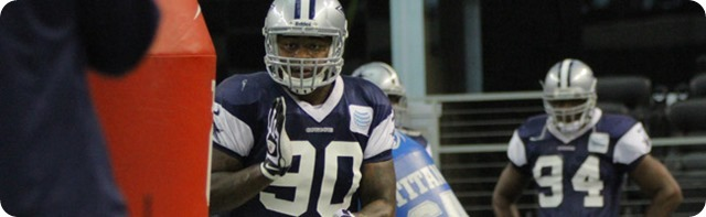 INJURY AND PRACTICE UPDATE - 2013-2014 Dallas Cowboys vs. New Orleans Saints - Everett Dawkins with DeMarcus Ware