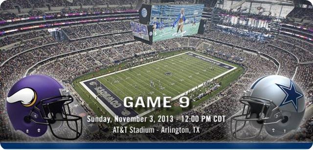 Minnesota Vikings vs Dallas Cowboys - Dallas Cowboys 2013-2014 schedule - 2013-2014 Dallas Cowboys - NFL helmets - Button