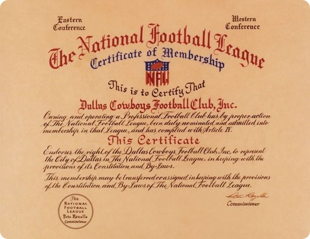 NFL Certificate of Membership - The Dallas Cowboys Football Club Inc -