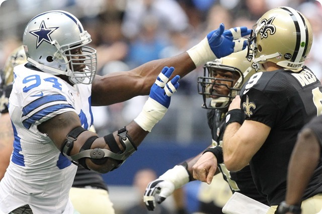 SAINTS EXPOSED INEXPERIENCE - DeMarcus Ware wants his starters back for 2013-2014 Dallas Cowboys playoff push - DeMarcus Ware sacks Drew Brees